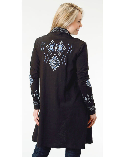 Roper Women's Studio West Blue Angel Long Line Embroidered Cardigan, Black, hi-res