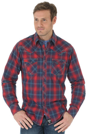 Wrangler Rock 47 Men's Red & Navy Plaid Western Long Sleeve Shirt , Red, hi-res