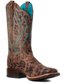 Ariat Women's Leopard Primetime Western Boots - Wide Square Toe, Brown, hi-res