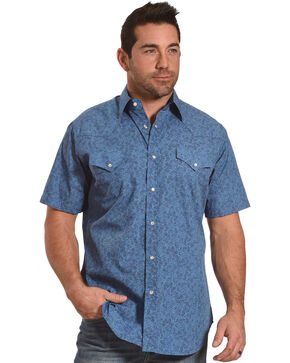 Ely Cattleman Men's Blue Paisley Print Western Shirt , Blue, hi-res
