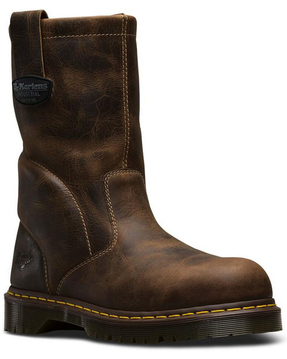 Dr. Martens Men's Wellington Work Boots - Steel Toe , Brown, hi-res
