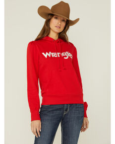 Wrangler Women's Red Logo Long Sleeve Puff Sleeve Hoodie, Red, hi-res
