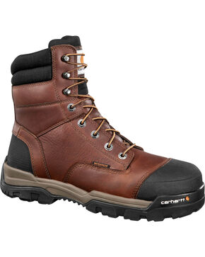 "Carhartt Men's 8"" Ground Force Waterproof Work Boots - Comp Toe, Brown, hi-res"