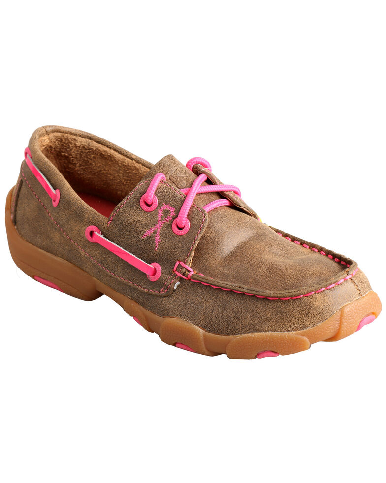 Twisted X Kid's Brown and Pink Driving Mocs , Bomber, hi-res
