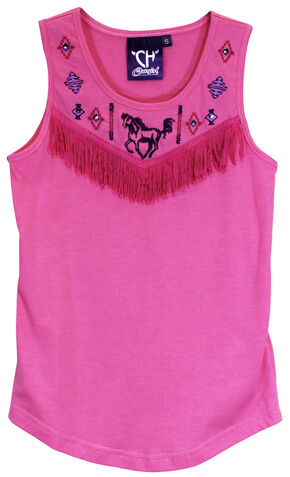 Cowgirl Hardware Girls' Native Fringe Tank, Pink, hi-res