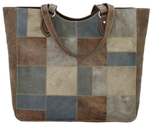 American West Distressed Brown Groovy Soul Large Zip Top Tote Bag  , Blue, hi-res