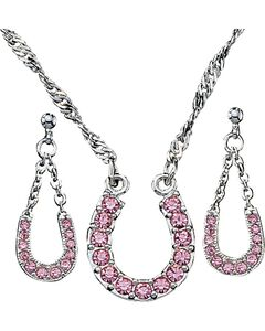 Montana Silversmiths Pink Rhinestone Horseshoe Necklace & Earrings Set, Pink, hi-res