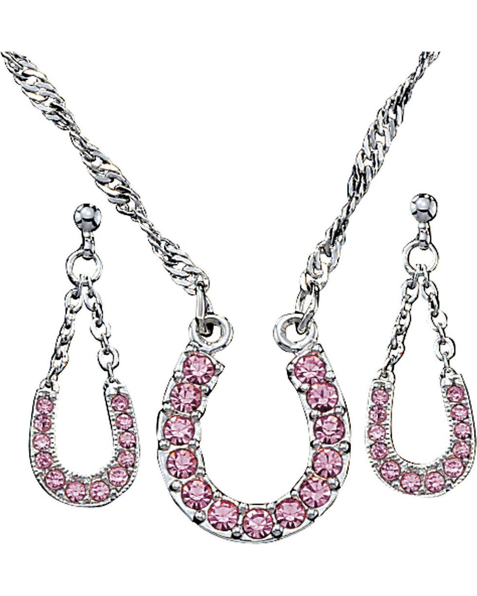 Montana Silversmiths Pink Rhinestone Horseshoe Necklace & Earrings Set, Pink, hi-res