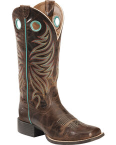 Ariat Round Up Ryder Cowgirl Boots - Square Toe , Brown, hi-res