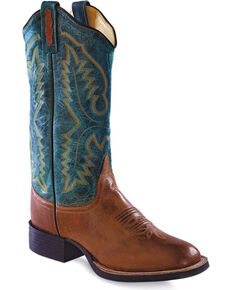 Old West Women's Teal Western Cowgirl Boots - Square Toe, Tan, hi-res