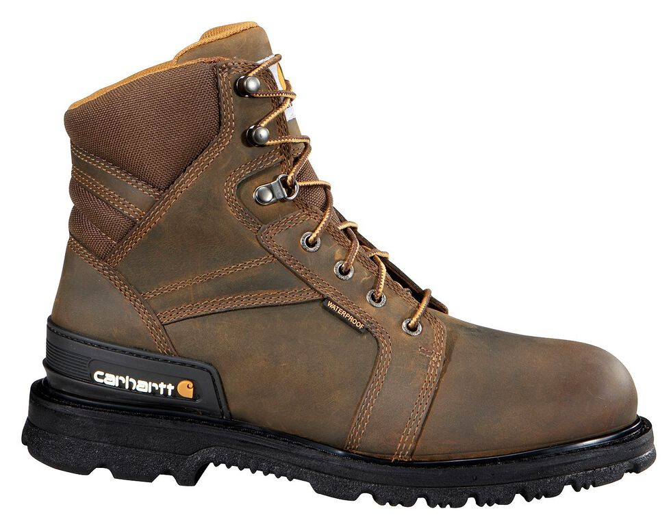 """Carhartt 6"""" Lace-Up Work Boots - Safety Toe, Fudge, hi-res"""