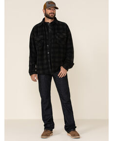 Outback Trading Co. Men's Charcoal Big Plaid Long Sleeve Western Flannel Shirt , Charcoal, hi-res