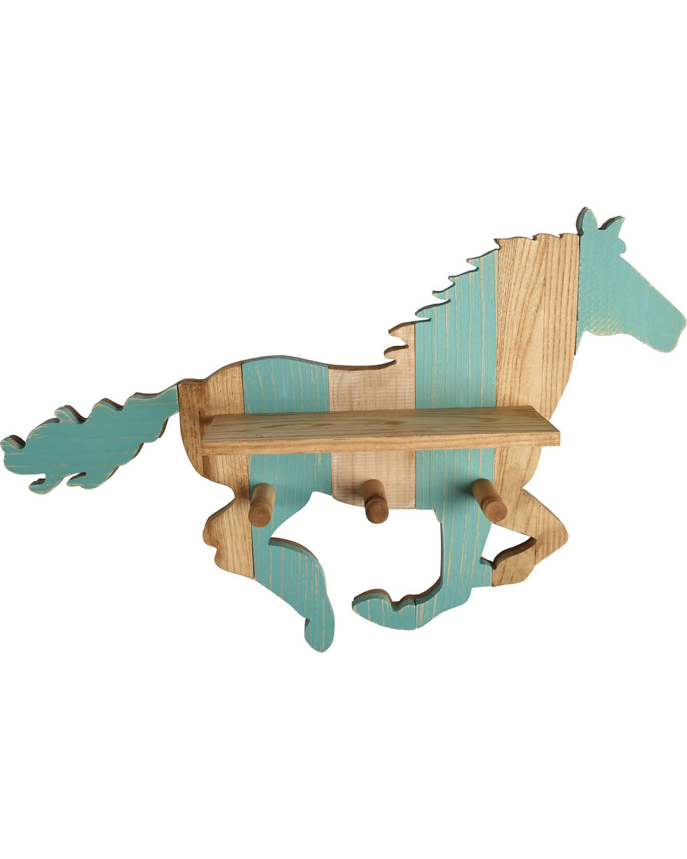 BB Ranch Horse Wall Art Shelf And Hooks, No Color, hi-res
