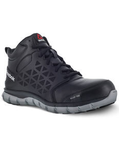 Reebok Men's Sublite Black Work Shoes - Alloy Toe, Black, hi-res