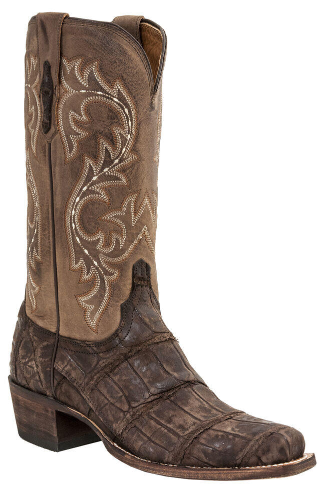 Lucchese Men's Handmade Burke Alligator Western Boots - Square Toe, Chocolate, hi-res