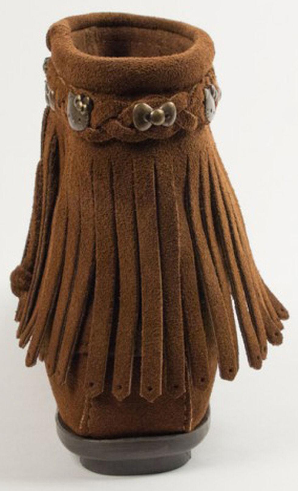 Minnetonka Women's Hello Kitty 40th Anniversary Fringe Boots, Dusty Brn, hi-res