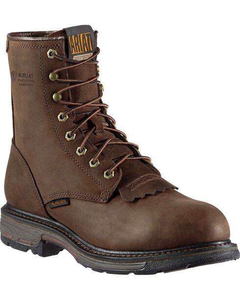 "Ariat WorkHog H2O 8"" Lace-Up Work Boots - Composition Toe, Distressed, hi-res"