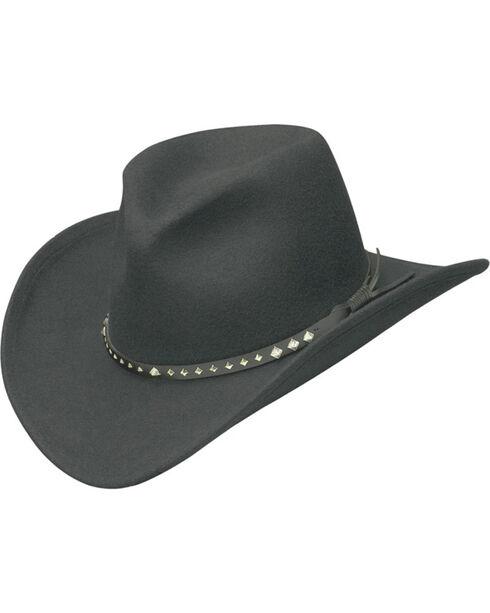 Western Express Men's Black Wool Felt Silver Diamond Concho Hat, Black, hi-res