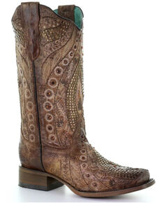 Corral Women's Flowered Embroidery Western Boots - Square Toe, Cognac, hi-res
