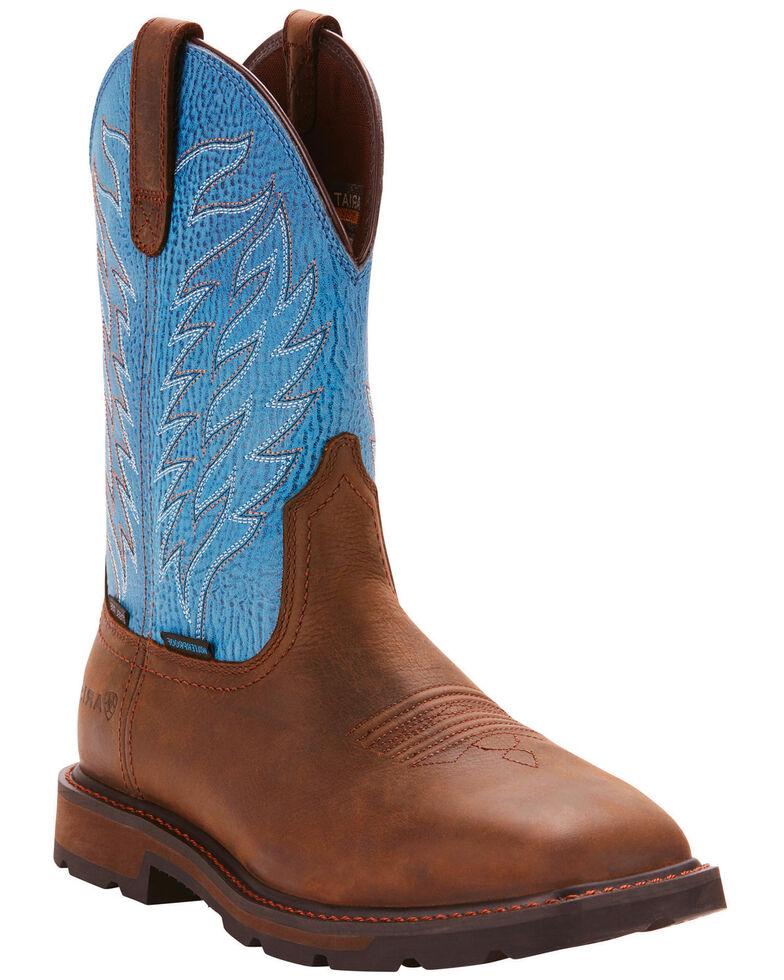 Ariat Men's Dark Brown Groundbreaker H20 Work Boots - Steel Toe , Dark Brown, hi-res