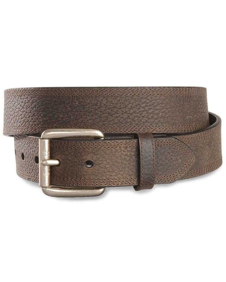 Ariat Brown Triple Stitch Oiled Rowdy Belt - Reg & Big, Brown, hi-res