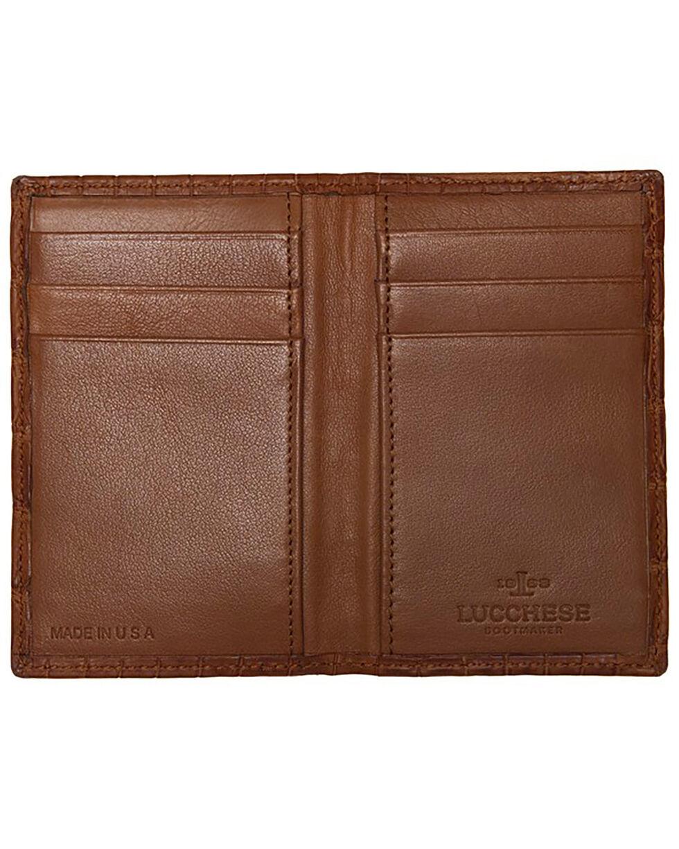 Lucchese Men's Cognac Genuine Crocodile Bi-fold Wallet, Cognac, hi-res