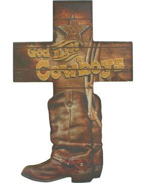 Western Moments God Bless Cowboys Wall Cross, Brown, hi-res