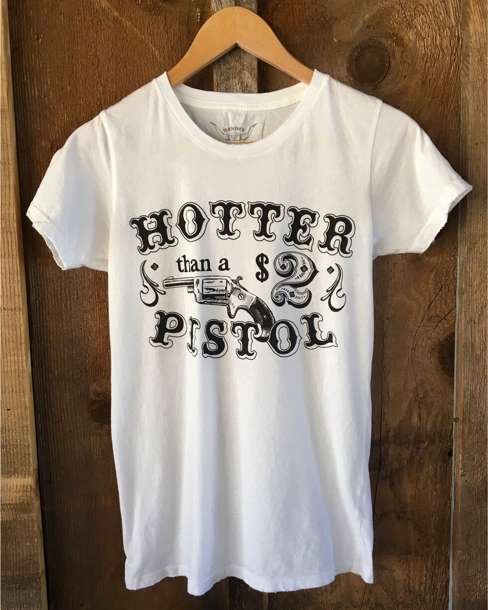 Bandit Women's White Hotter Than A Pistol Tour Tee , White, hi-res