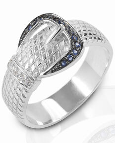 Kelly Herd Women's Blue & Clear Rope Buckle Ring , Silver, hi-res