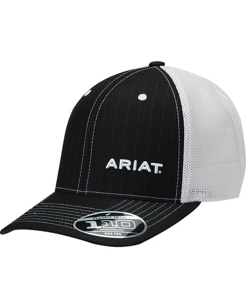 Ariat Men's Black Pinstripe Pattern Baseball Cap , Black, hi-res