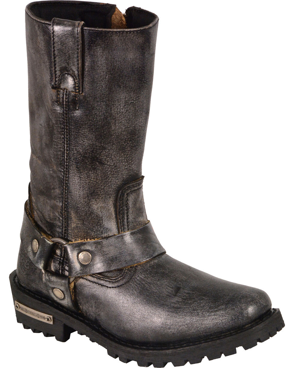 Milwaukee Leather Women's Distressed Grey Classic Harness Boots - Square Toe , Black, hi-res