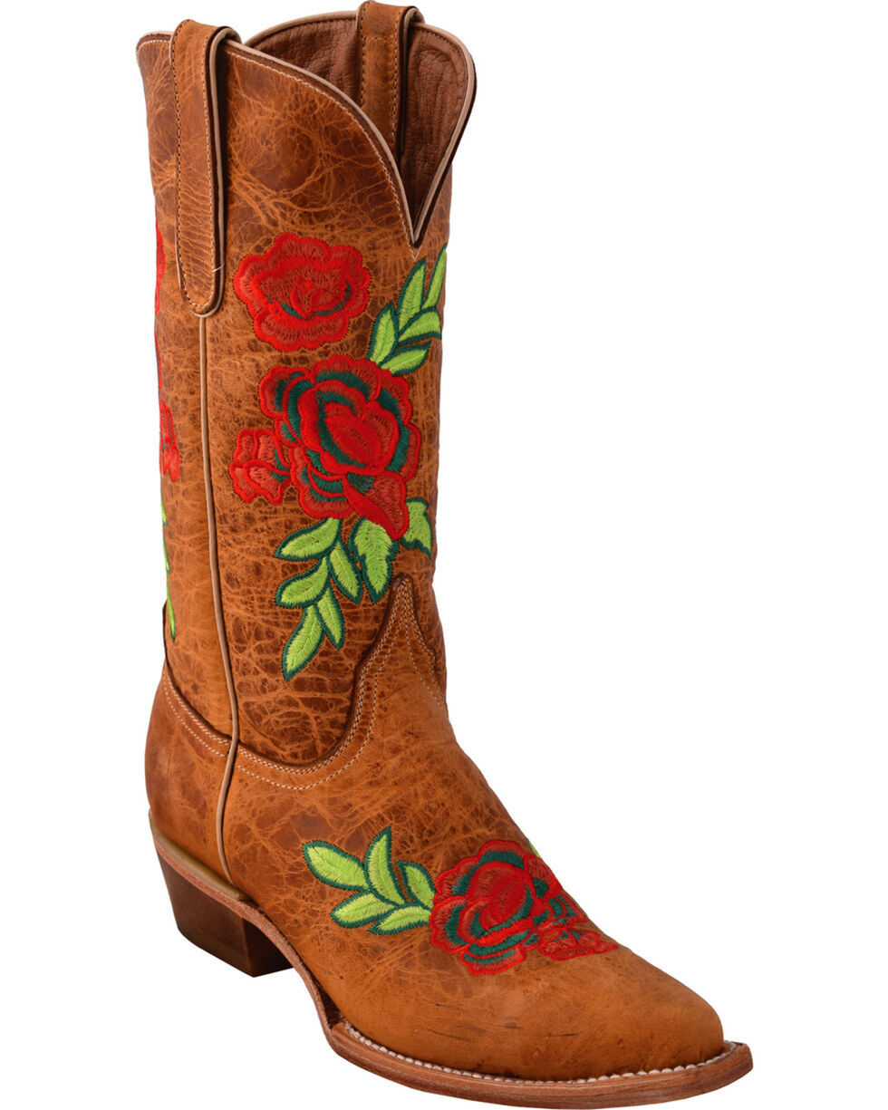 Ferrini Women's La Flor Embroidered Cowgirl Boots - Snip Toe, Brown, hi-res