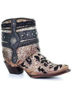 Corral Women's Glitter Flipped Shaft Fashion Booties - Snip Toe, Brown, hi-res