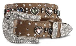 Nocona Girls' Heart Rhinestone Leather Belt -18-28, Brown, hi-res