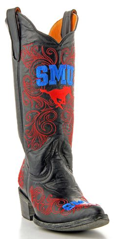 Gameday Southern Methodist University Cowgirl Boots - Pointed Toe, Black, hi-res