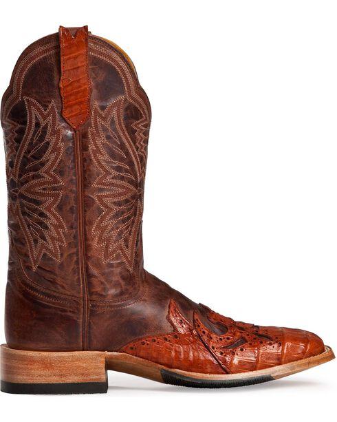 Cinch Classic Caiman Wingtip Cowboy Boots - Square Toe, Cognac, hi-res