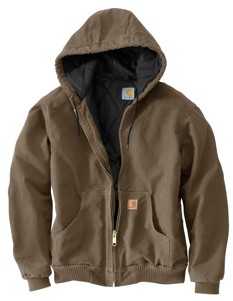 Carhartt Men's Sandstone Flannel Lined Active Jacket, Light Brown, hi-res