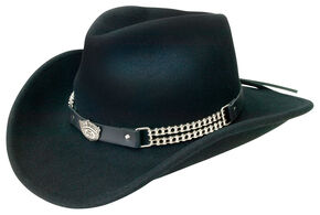 Jack Daniel's Crushable Wool Motorcycle Chain Hat, Black, hi-res