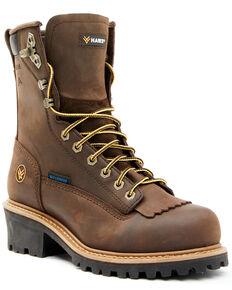 """Hawx Men's 8"""" Waterproof Logger Boots - Steel Toe, Dark Brown, hi-res"""
