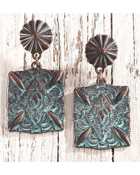 Shyanne Women's Patina Copper Starburst Earrings, Rust Copper, hi-res