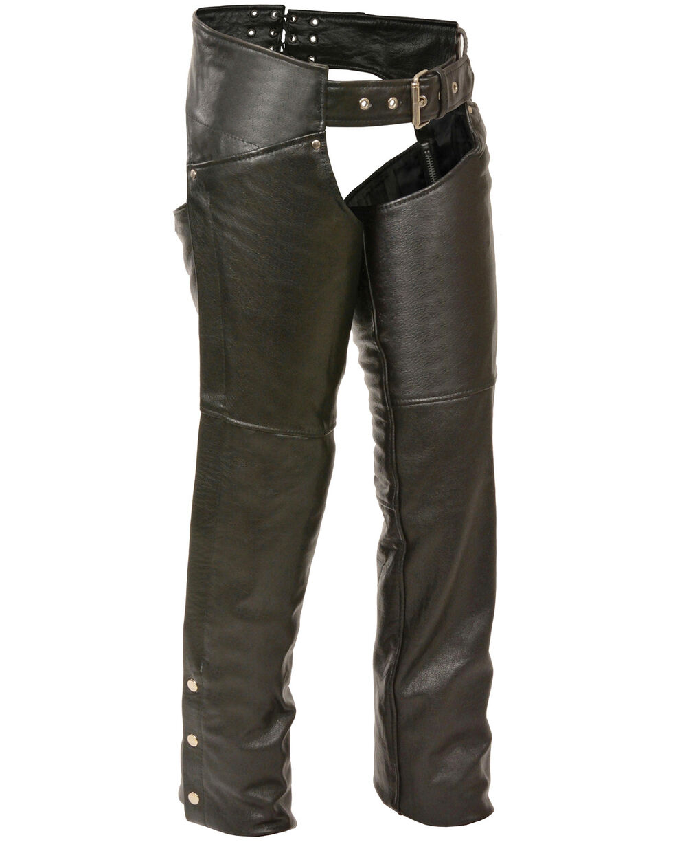 Milwaukee Leather Women's Classic Hip Chaps - 4X, Black, hi-res