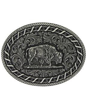 Montana Silversmiths Antiqued Buck Stitch Oval Buffalo Attitude Buckle, Silver, hi-res