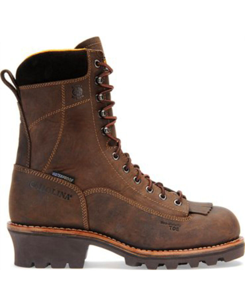 "Carolina Men's Brown 8"" Crazy Horse Waterproof Lace-to-Toe Logger Boots - Round Toe, Brown, hi-res"