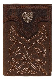 Ariat Boot Stitched Tri-fold Wallet, Brown, hi-res