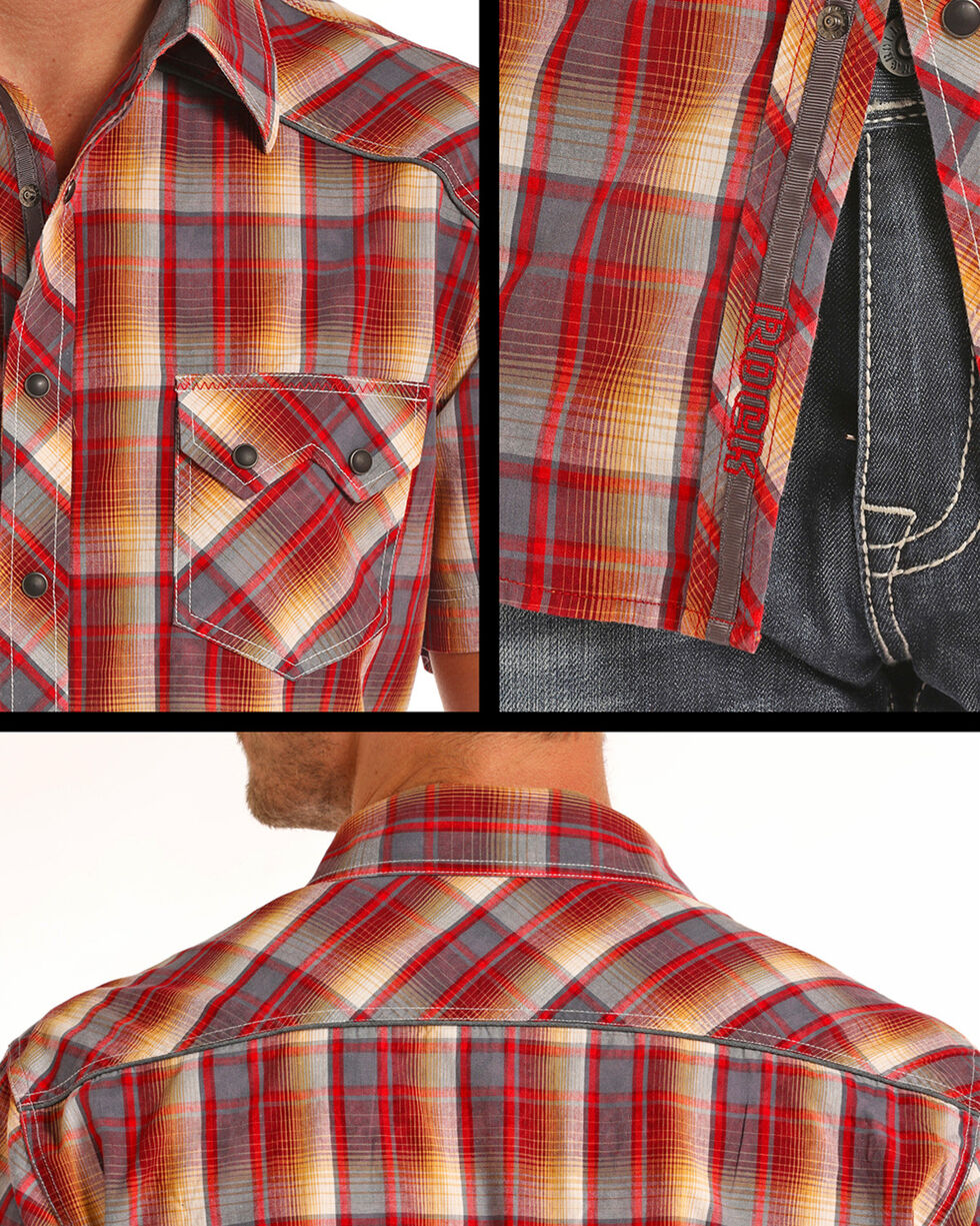 Rock & Roll Cowboy Men's Bleach Washed Plaid Short Sleeve Shirt, Coral, hi-res