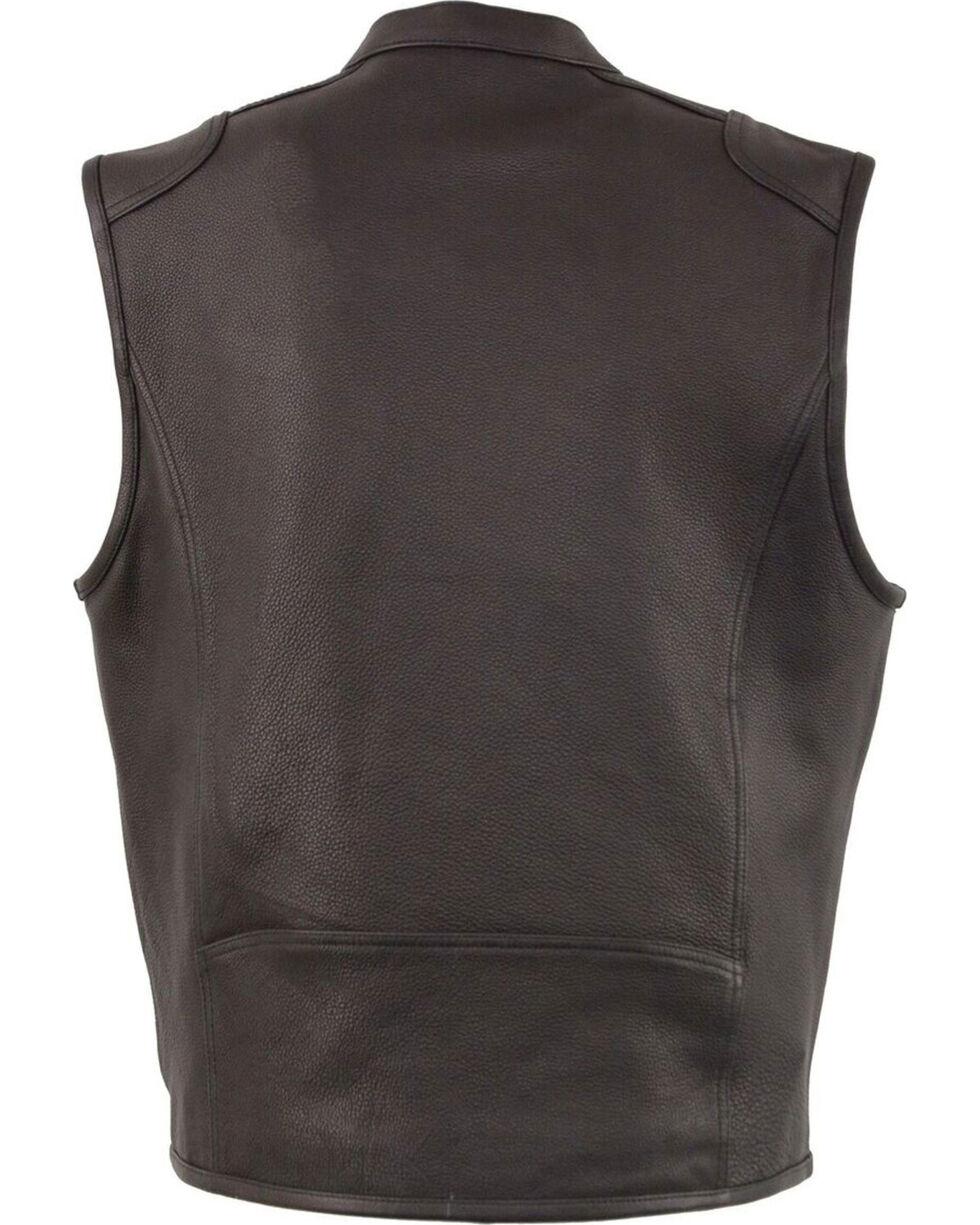 Milwaukee Leather Men's Black Cool Tec Leather Vest - Big 3X , Black, hi-res