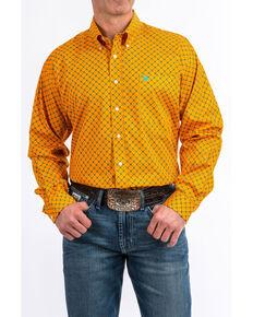 4cfb77db6 Cinch Mens Orange Geo Print Tencel Long Sleeve Western Shirt , Orange,  hi-res