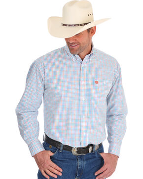 Wrangler Men's George Strait Checker Print Shirt , Orange, hi-res