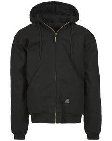 Berne Men's Duck Original Hooded Zip Front Work Jacket, Black, hi-res