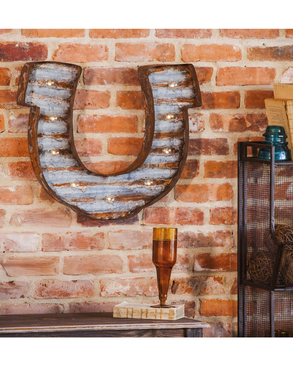 Evergreen Lucky Light-Up LED Horseshoe Wall Art , Steel, hi-res